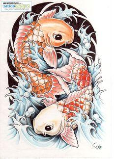 Japanese Koi Carp Illustration Fish Tattoo