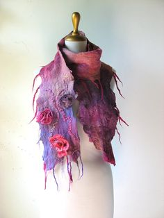 Nuno Felted Scarf with 3D Rose Flowers