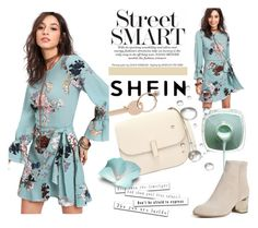 """""""SHEIN Trumpet Sleeve Ruffled Overlap Dress"""" by inaa-co ❤ liked on Polyvore featuring Valextra, rag & bone and Maison Margiela"""