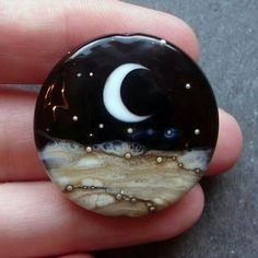 "Crescent Moon [   ""Half moon Lampwork Glass Bead - Midnight, by Candice Mathewson of beadgoodies"",   ""This would be cool as a button"" ] #<br/> # #Lampwork #Beads,<br/> # #Glass #Beads,<br/> # #Glass #Art,<br/> # #Good #Ideas,<br/> # #Painted #Stones,<br/> # #Rock #Painting,<br/> # #A #Rock,<br/> # #Rock #Art,<br/> # #Lampworking<br/>"