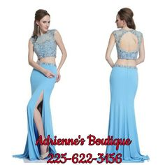Gorgeous 2 piece gown. Great for Mardi Gras Ball or prom. Adrienne's Boutique.  225-622-3156