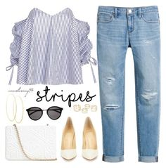 """""""One Direction: Striped Shirts"""" by avonsblessing94 ❤ liked on Polyvore featuring White House Black Market, Caroline Constas, Christian Louboutin, Lana, Anya Hindmarch and Yves Saint Laurent"""