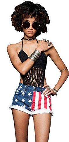 979324d1b2 Women s USA Flag Distressed Flare Dress Swimwear Cover-up