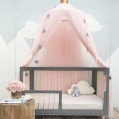 Hung Lace Baby Crib Tent Round Dome Bed Curtain Mosquito Net Kids Room Decoration(including : baby dome tent - memphite.com