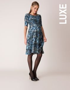 """<ul> <li>Digitally printed crepe de Chine</li> <li>Curved empire line</li> <li>Stylish cropped sleeves</li> </ul> <p>Worn by the Duchess of Cambridge, Seraphine's Florrie floral print dress offers a new approach to florals this season, in stunning marine ocean shades. Made in digitally printed crepe de Chine, this elegant <a href=""""http://www.seraphine.com/us/maternity-clothes/maternity-dresses.html"""" target=""""_blank"""">maternity dress</a> drapes beautifully to finish just above the knee…"""