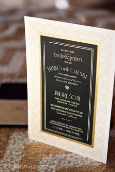 A gorgeous Gatsby inspired invitation. Phoenix Bride and Groom,Katrina Wallace Photographers, The Event Essentials #Gatsby #Invitation #Black