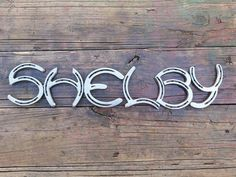 Custom Made Horseshoe Sign Priced Per Letter by AaronSmithDesigns Horseshoe Letters, Horseshoe Logo, Horseshoe Projects, Horseshoe Crafts, Horseshoe Decorations, Welding Art Projects, Metal Art Projects, Welding Ideas, Wood