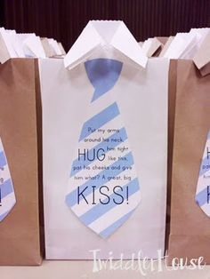 Father's Day treat bags filled with Hershey kisses ~ cute printable tie tags: Put my arms around his neck, hug him tight like this, pat his cheek and give him what? A great big kiss!