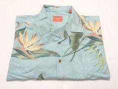 Tommy Bahama L Hawaiian Camp Shirt Blue  Floral Print Short Sleeve Large #TommyBahama #Hawaiian