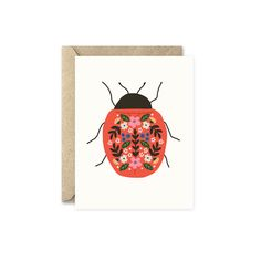 Beetle card by August and Oak, ladybird, insect, cute, folk art, kids, greeting card, illustration, design