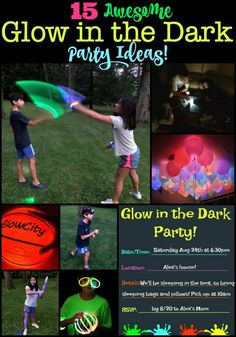 These glow in the dark party ideas are sure to be a hit with your tweens! This post includes some great glow in the dark games, ideas on how to decorate for your party, food to serve, and even a free printable party invite and thank you note! Slumber Party Crafts, Tween Party Games, Kids Party Themes, Party Ideas, Birthday Party At Home, Birthday Party Games, Birthday Party Invitations, Birthday Ideas, Birthday Stuff