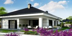 Z443 to wyjątkowy dom z kategorii projekty domów parterowych Modern Family House, Modern House Plans, Bungalow House Design, Small House Design, Modern Architecture House, Architecture Design, Mud House, Three Bedroom House Plan, Beautiful House Plans