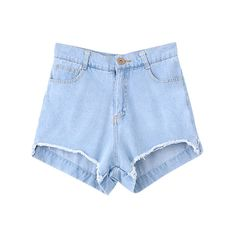 Rough Edge High Waist Denim Shorts (640 MXN) ❤ liked on Polyvore featuring shorts, bottoms, denim shorts, highwaisted shorts, highwaist shorts, short jean shorts and high rise shorts
