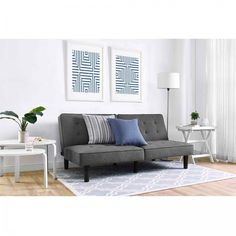 Sleeper Sofa Bed Chair Futon Grey Tufted Love Seat Small Couch Queen Mattress…