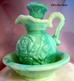 I didn' know this was even worth anything.... hmmm. Into the collectible shelf you go! haha ~Avon Collectible  Pitcher and Bowl Set  Jade by KROcollectibles, $15.00