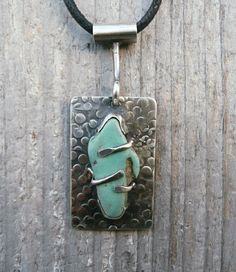 One Of A Kind Turquoise Stone Pendant Necklace by LjBjewelry, via Etsy