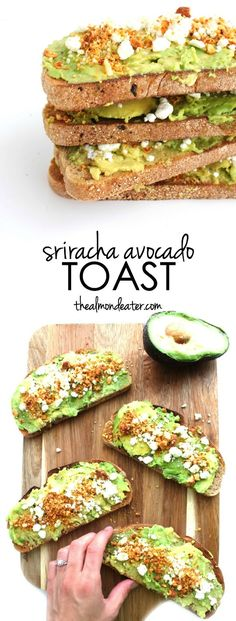 Sriracha Avocado Toast | Avocado toast topped with goat cheese, sriracha flavored almonds and a bit of lime juice