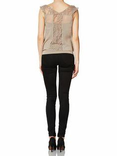 FEJA LACE S/L TOP, Moon Rock, main Moon Rock, Black Jeans, Lace, Pants, Tops, Fashion, Trouser Pants, Moda, Fashion Styles