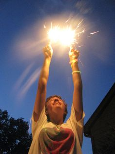 Sparklers on the fourth of July.