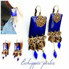 Boucles d'oreilles - émaux - bohème chic antique *nuée bleue* : Boucles d'oreille par echappee-perles