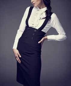 Look at this Black Button High-Waist Suspender Skirt on #zulily today!
