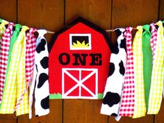 Farm Birthday Banner Highchair High Chair Barn by SeacliffeCottage