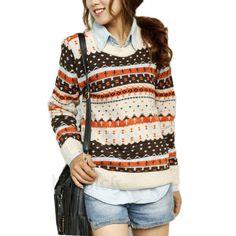 Women Girl Knitwear Knitted Sweater Jumper Pullover Outwear Top Round Neck Retro | eBay