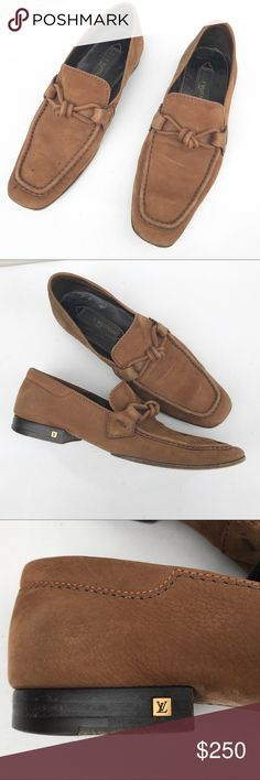 LOUIS VUITTON men's shoes 6 brown logo loafers Authentic brown suede shoes in a size  6. Louis Vuitton. Some spots on upper, sole wear. Retailed for about $1350 Louis Vuitton Shoes Loafers & Slip-Ons