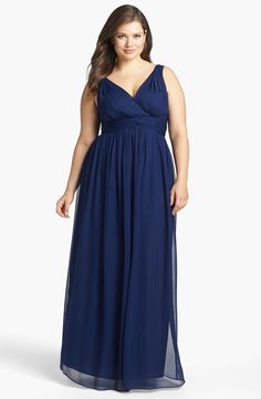Plus size bridesmaid dress in blue