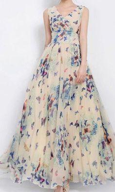 Girls Sz XL - Hua Meifashion - Wte Long Chiffon Butterfly Dress Party/Church NWT