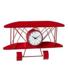 Red Airplane Wall Clock #zulily #zulilyfinds