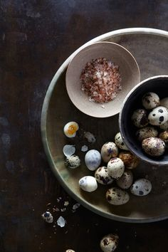 """speckled quail eggs and pink salt - how darling! from the hungry ghost blog's """"where the wild things are"""" post about wild foods."""