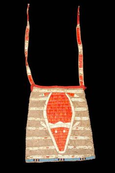Lakota quilled bag Sac (fragment)
