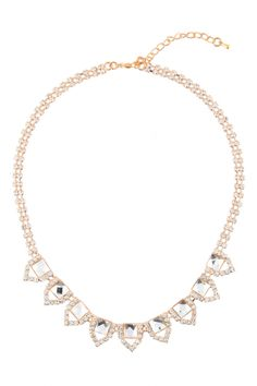 Rhinestone Studded Necklace with Square Clear Stone