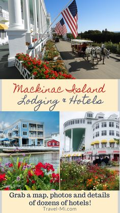 Easily choose your Mackinac Island Lodging and Hotels by map (they are all listed on an overall map), price, photos, details and 1 click booking! Mackinac Island Lodging, Mackinac Island Bridge, Mackinac Island Michigan, Vacation Packing, Need A Vacation, Dream Vacations, Travel Info, Travel List, Travel Hacks