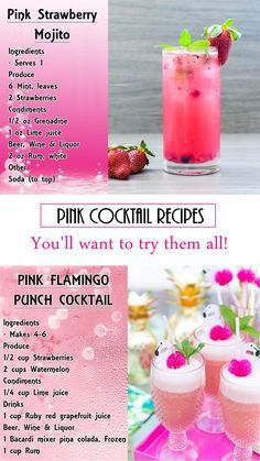 24 PINK cocktail recipes that will make you want to try them all. 24 PINK cocktail recipes that Rosa Cocktails, Beste Cocktails, Cocktail Drinks, Cocktail Tequila, Champagne Margaritas, Vodka Lemonade, Pink Lemonade, Pink Drinks, Shot Recipes