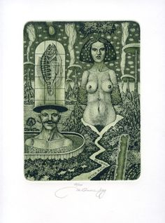 Nude Surrealistic EX libris Etching by Marian Oravec | eBay