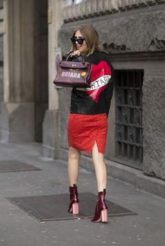 Fashion Week Street Style. Double monogram for Chiara Ferragni at Milan Fashion Week Fall 2015 #MFW
