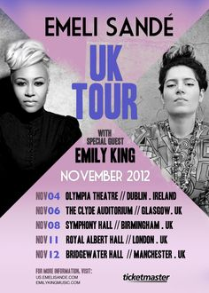Emeli Sande with Emily King supporting the UK tour November 2012.  #2ems