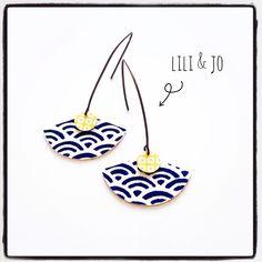 Boucles d'oreille forme éventail motifs écailles de poissons : Boucles d'oreille par lili-and-jo