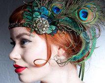 Absinthe Nymph Peacock Feather Headband 1920s Flapper