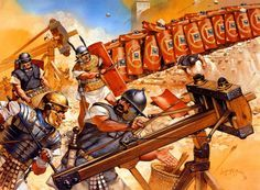 Romans besiege a Jewish rebel fortress. By Angus Mcbride Rome History, Ancient History, Ancient Rome, Ancient Greece, Imperial Legion, Rome Antique, Roman Legion, Empire Romain, Roman Warriors