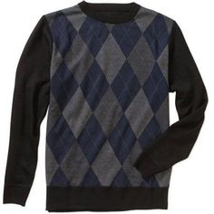 Men's Jacquard Crew Sweater, Size: Large, Blue