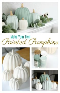How to paint pumpkins in beautiful white, green, and sage colours. Get that gorgeous farmhouse Fall look for less!