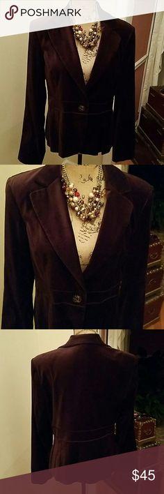 BROWN  RAFAELLA VELOUR BLAZER Velour blazer by Rafaella. Great for day evening! Rafaella Jackets & Coats Blazers