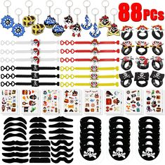 Welcome to GeeVen 88 PCs Pirate Party Supplies Favors Pirate Keychain Rings Bracelets Pirate Eye Patch Mustache Tattoos Stickers Pirate Party Favors Decoration #piratethemed #partydecor #amazon #gentlemanpirateclub #partyflavors Pirate Party Supplies, Pirate Party Favors, Dinosaur Party Supplies, Pirate Theme, Birthday Party Favors, Moustache, Mustache Tattoo, Pirate Photo Booth, Gaming