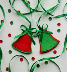 Red and Green Christmas Bells Ornaments