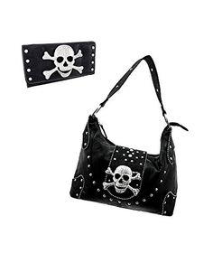 Black Western Rhinestone Skull Buckle Handbag Purse / Wallet Set #skulls #skullbags more at http://skullclothing.net