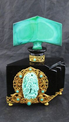 C1930 Czech ART Deco Perfume Bottle Black W Jewels Malachite