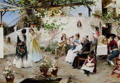 Juan García Ramos - A Dance for the Priest [c.1890]  #19th #Classic #José #García #Ramos #Painting